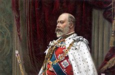 Thumbnail image of Edward VII in full coronation robes, 1902. Artist: Unknown