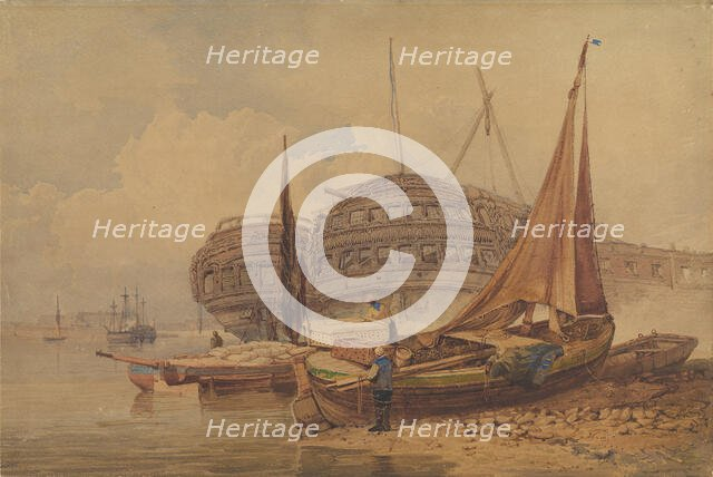 Coastal Scene with Beached Boats in Foreground, early-mid 19th century. Creator: Samuel Prout.
