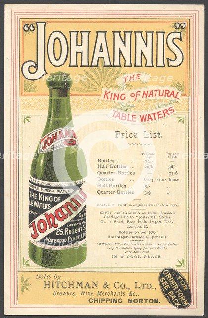 Johannis Mineral water, 1890s. Artist: Unknown