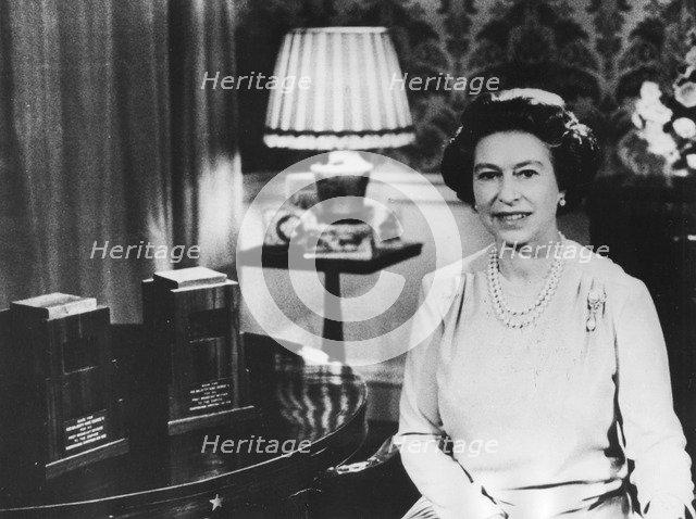 Queen Elizabeth II's Christmas Day broadcast, Regency Room, Buckingham Palace, c1950s. Artist: Unknown