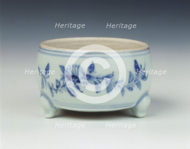 Blue and white tripod censer, Ming dynasty, China, 1467-1485. Artist: Unknown