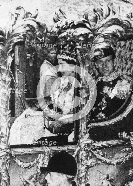 Queen Elizabeth II (b1926) during her coronation, 1953. Artist: Unknown