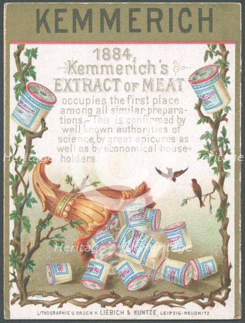 Kemmerich Meat extract, 1884. Artist: Unknown
