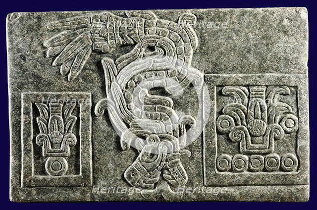 Relief of the Aztec god Quetzalcoatl as the Featered Serpent, Aztec, Mexico. Artist: Werner Forman