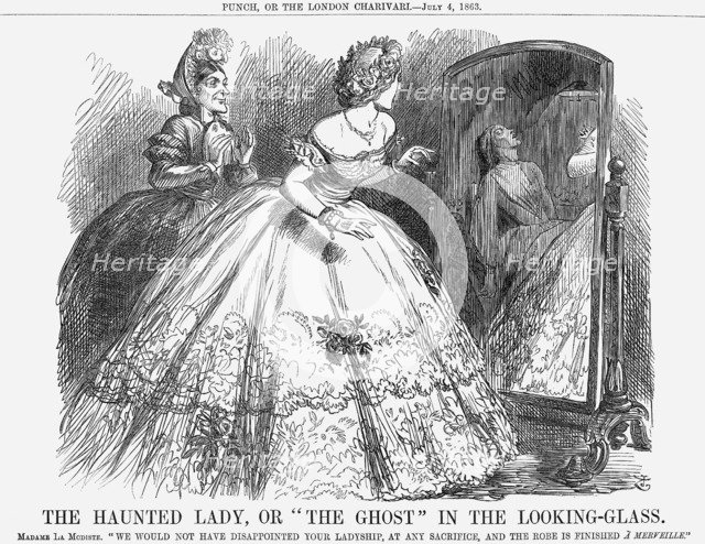 'The Haunted Lady, Or The Ghost In the Looking-Glass', 1863. Artist: John Tenniel