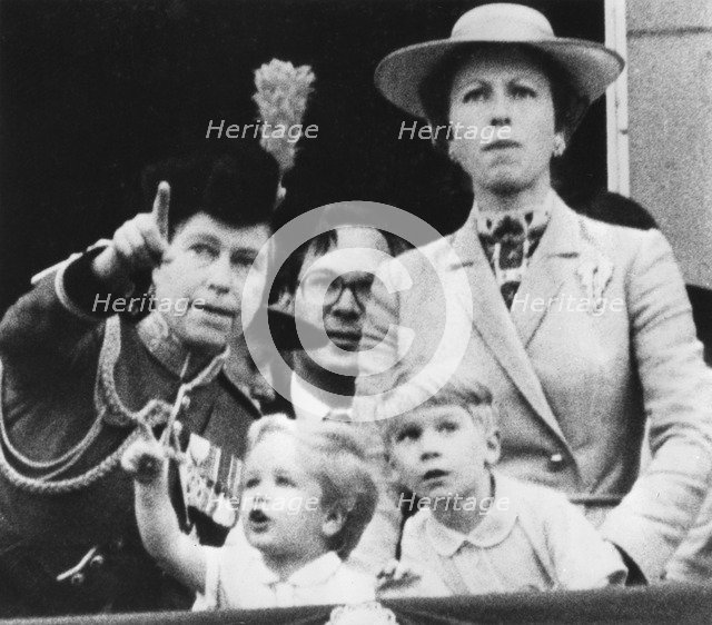 The Royal family watch a RAF flyby from the balcony of Buckingham Palace, 14th June 1980. Artist: Unknown