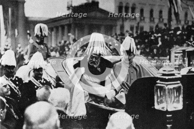 King Edward VII and Kaiser Wilhelm II in Berlin, February 1909 (1964). Artist: Unknown