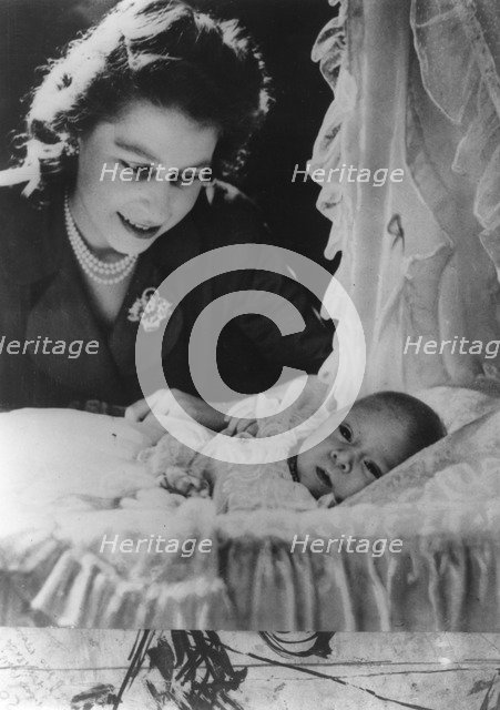 Princess Elizabeth with her son Charles, 1948. Artist: Unknown