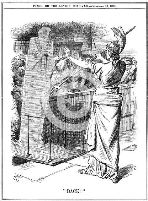 Britannia holding back Cholera at British ports, 1892. Artist: John Tenniel