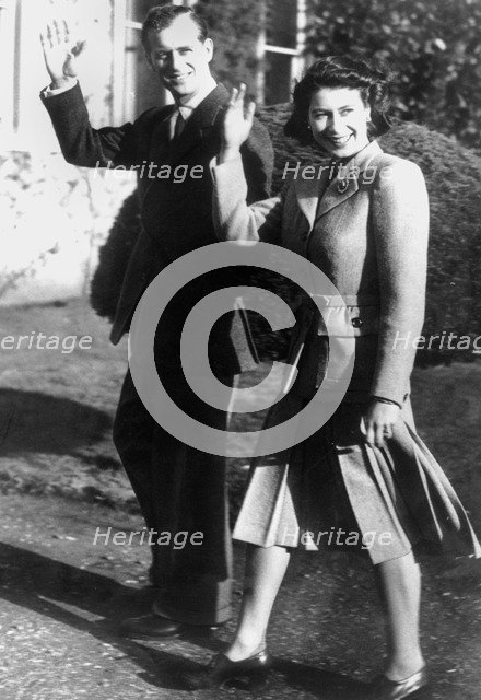 Princess Elizabeth and the Prince Philip, Romsey, Hampshire, 1947. Artist: Unknown