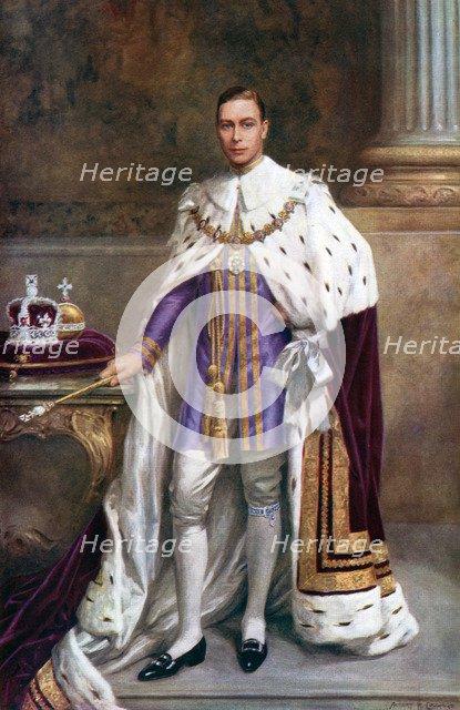 King George VI in coronation robes, 1937.Artist: Albert Henry Collings