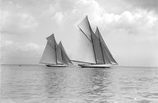 Thumbnail image of The magnificent schooners 'Germania' and 'Waterwitch', 1911. Creator: Kirk & Sons of Cowes.