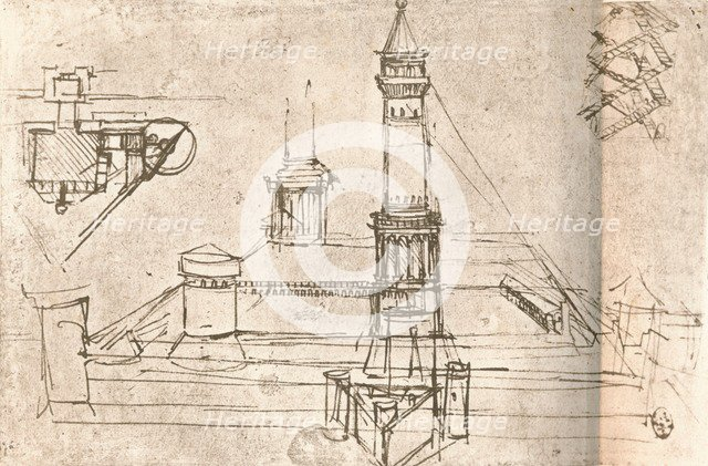 Architecture for castles, c1472-c1519 (1883). Artist: Leonardo da Vinci.