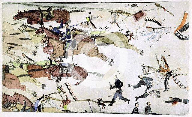 Battle of the Little Big Horn, Montana, USA, 25-26 June 1876, (c1900). Artist: Amos Bad Heart Buffalo