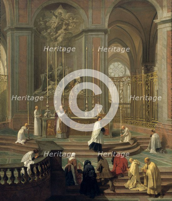 'Mass said by the canon de la Porte, or the main altar of Notre Dame, Paris', 1708-1710. Artist: Unknown