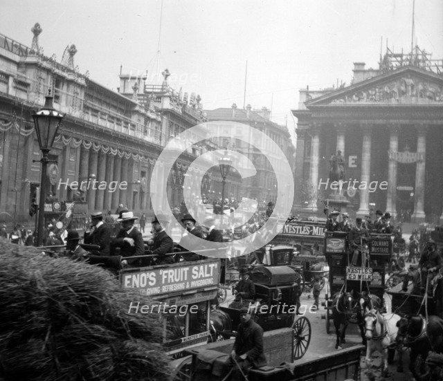 King Edward VII's Coronation Decorations, Threadneedle Street, London, 1901. Artist: Anon