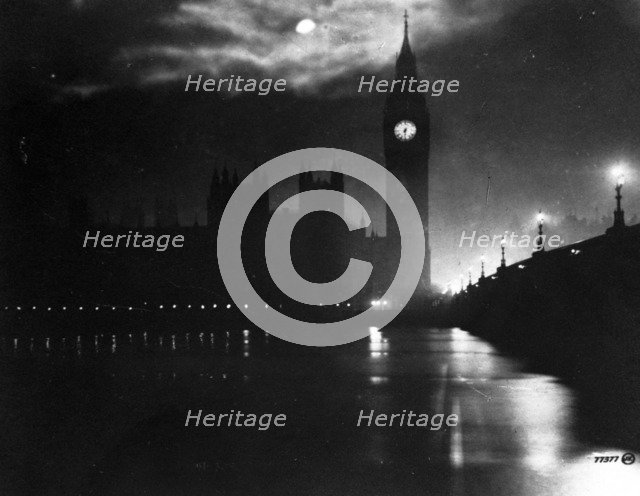 The Houses of Parliament at night, City of Westminster, London. Artist: Unknown