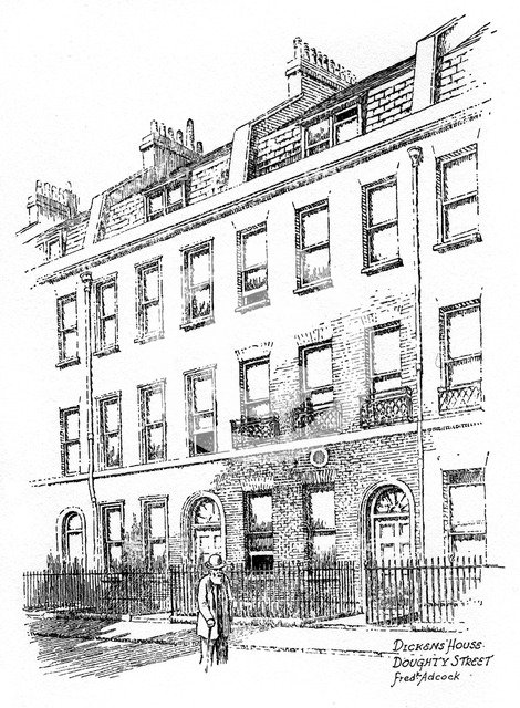 Dickens' house, 48 Doughty Street, London, 1912.Artist: Frederick Adcock