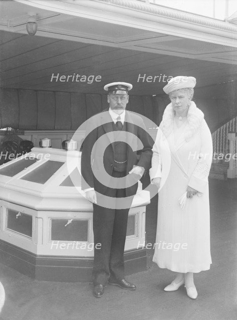 King George V and Queen Mary aboard 'HMY Victoria and Albert', 1933. Creator: Kirk & Sons of Cowes.