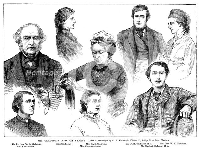 'Mr Gladstone and his Family', 19th century. Artist: Unknown