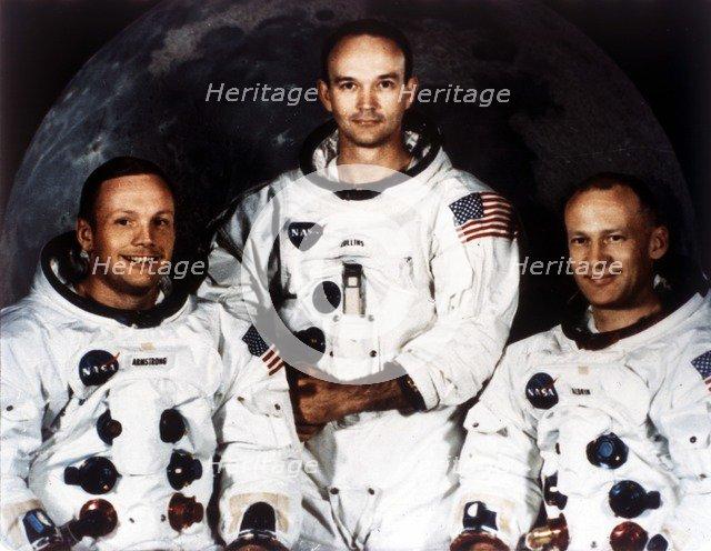 Neil Armstrong, Michael Collins and Buzz Aldrin, crew of Apollo 11, 1969. Creator: NASA.