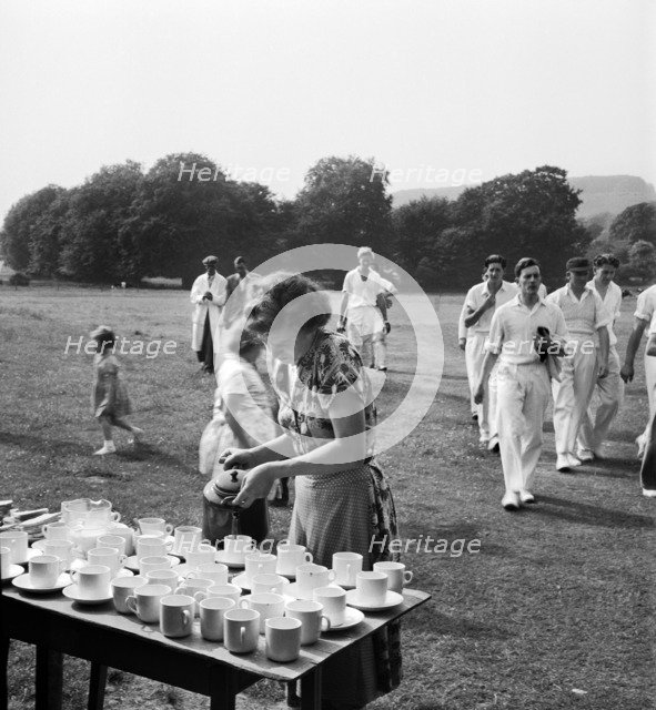 Tea interval at a cricket match, Lewes, East Sussex, 1959. Artist: John Gay
