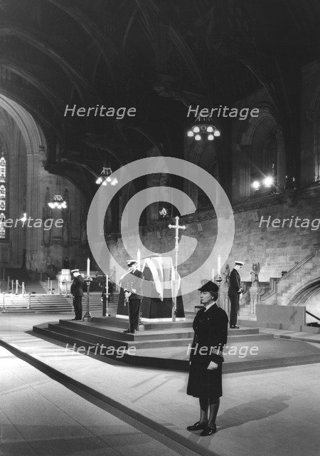 Sir Winston Churchill lying in state, Westminster Hall, London, January 1965. Artist: Unknown