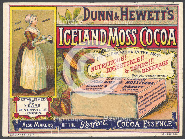 Iceland Moss Cocoa, 1890s. Artist: Unknown