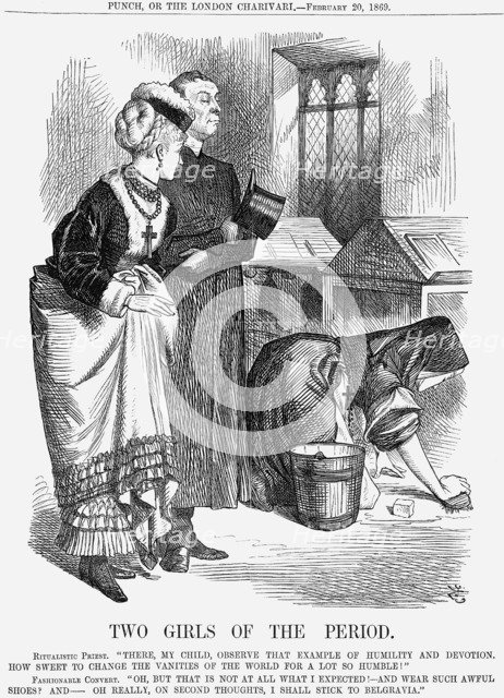 'Two Girls of The Period', 1869. Artist: John Tenniel