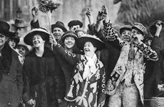 Thumbnail image of Pearly king and queen in high spirits, London, 1926-1927. Artist: Unknown