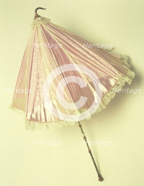 A parasol of pink moire, (1851?) Artist: Unknown
