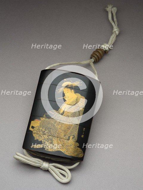 Inro depicting the courtesan Morokoshi of Echizen-ya writing a letter, 19th century. Artist: Shunsho.