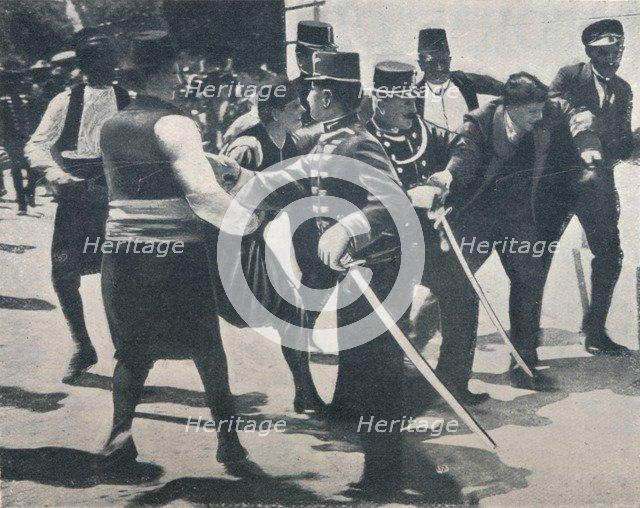Arrest of Gavrilo Princip, assassin of Archduke Franz Ferdinand, 1914. Artist: Unknown