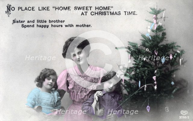 'No Place like Home Sweet Home at Christmas Time', greetings card, c1900-1919(?).Artist: Schwerdffeger & Co