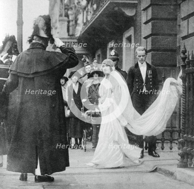 Lady Elizabeth Bowes-Lyon on her way to be married at Westminster Abbey, 26 April 1923, (1937). Artist: Unknown