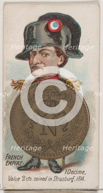 French Empire, 1 Decime, from the series Coins of All Nations (N72, variation 1) for Duke ..., 1889. Creator: Unknown.