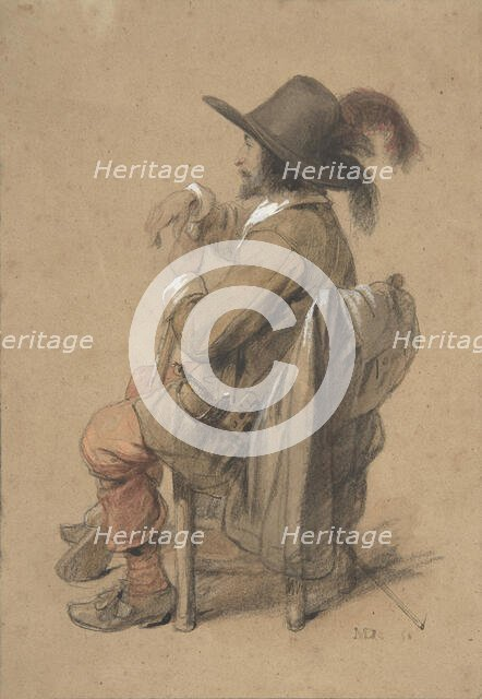 Seated Cavalier, mid-19th century. Creator: Jean-Baptiste Madou.
