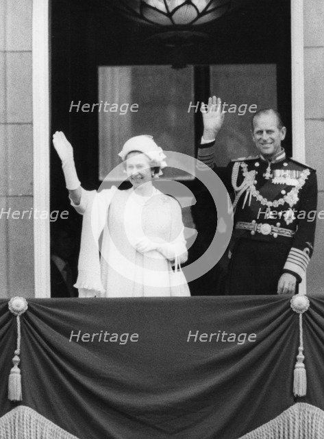 Queen Elizabeth II and Prince Philip on the balcony at Buckingham Palace, London, 1977. Artist: Unknown