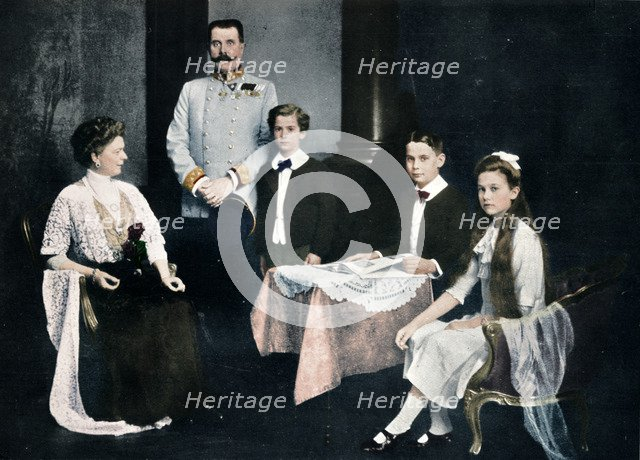 Murdered Archduke Francis Ferdinand with his wife and children, c1910. Artist: Unknown.