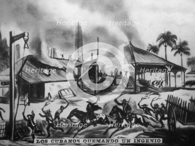 Cubans Burning Refineries, (1870s), 1920s. Artist: Unknown