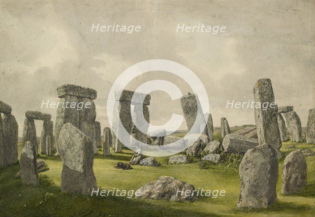 The Interior of Stonehenge in its present state, showing interior of stones, man and dog, 1824-1839. Artist: Henry Browne.