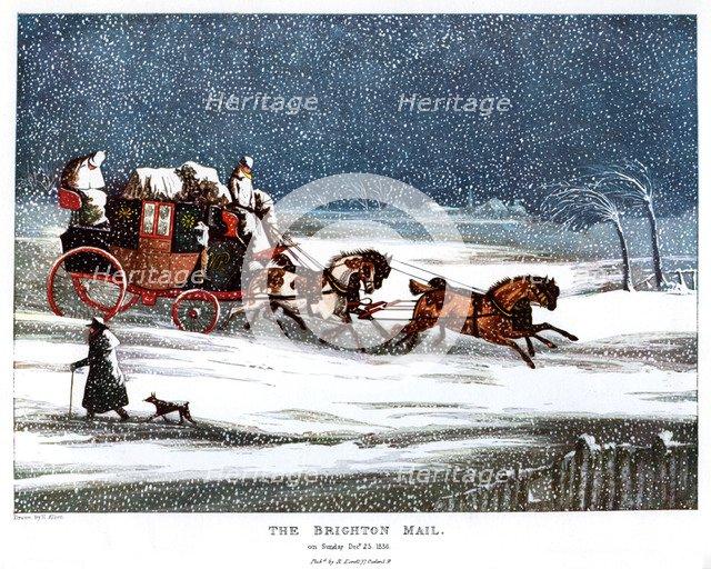 The Brighton Mail on Christmas Day, 1836 (1905).Artist: Henry Thomas Alken