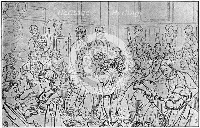 Charles Dickens presiding at the Newsvendors' Dinner, 5th April 1870 (1912). Artist: Unknown