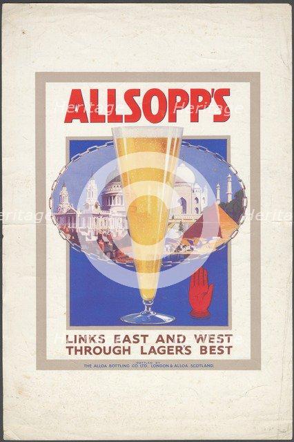 Allsopp's Lager, 1920s. Artist: Wilfred Fryer