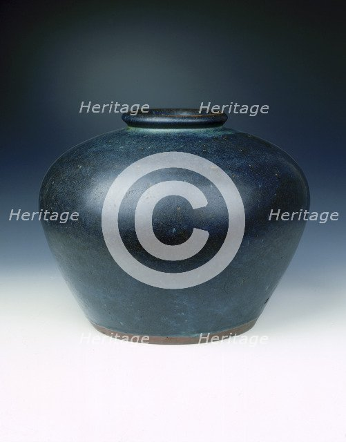 Yixing stoneware jar copying Jun ware, late Ming dynasty, China, c1600. Artist: Unknown