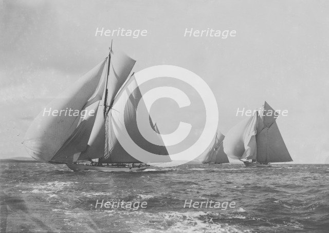 'White Heather', 'Meteor III' and 'Brynhild' racing in the Solent, 1905. Creator: Kirk & Sons of Cowes.