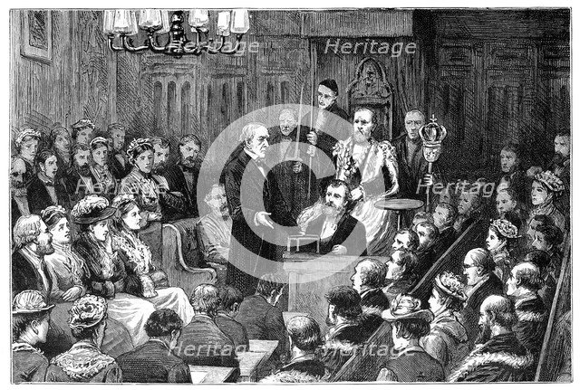 'Presentation of the Freedom of the City to Mr Gladstone', 1877. Artist: Unknown