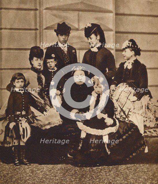 Queen Victoria with her daughter-in-law and grandchildren, c1880 (1935). Artist: Unknown.