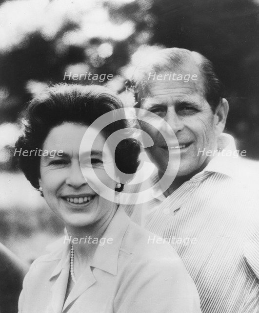 Silver wedding anniversary portrait of the Queen and Prince Philip, 1972. Artist: Unknown