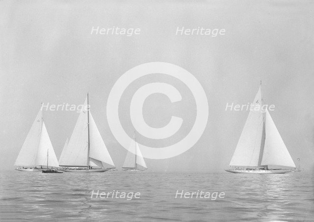 Sailing yachts 'Yankee', 'Astra' and 'Velsheda', 1935. Creator: Kirk & Sons of Cowes.